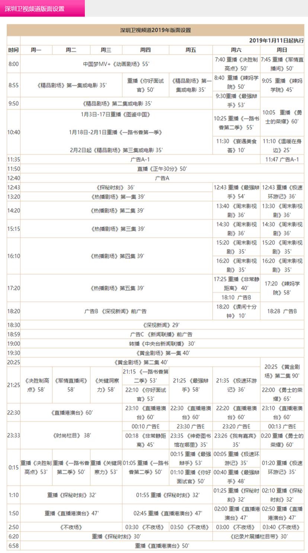 深圳卫视节目表